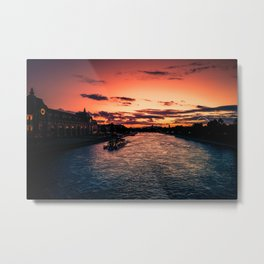 Paris Seine River at Sunset Metal Print