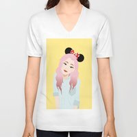 minnie V-neck T-shirts featuring Minnie Ears by lulu ramos