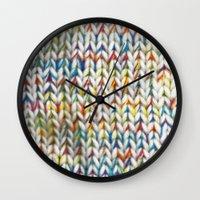 knit Wall Clocks featuring Knit Pattern  by Manuela Mishkova