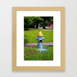 Fire Hydrant Gushing Water Framed Art Print