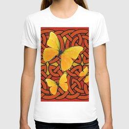 COFFEE BROWN YELLOW BUTTERFLIES CELTIC ART PATTERN  ART T-shirt