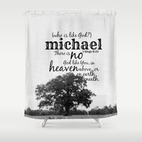 michael scott Shower Curtains featuring Michael by KimberosePhotography