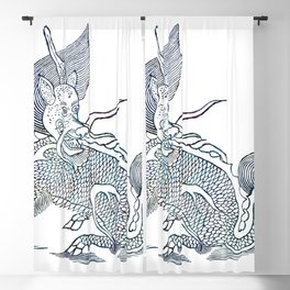 Vintage mythological beast illustration Blackout Curtain