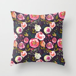 Floral watercolor chalk print pink peonies Throw Pillow