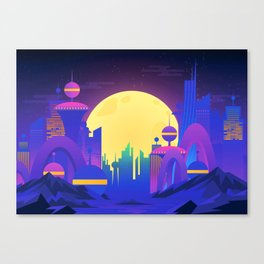 Synthwave Neon City #13 Canvas Print
