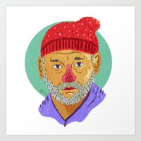 steve zissou Art Prints featuring Steve Zissou  by Barry Lee