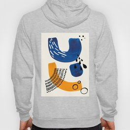 Fun Colorful Abstract Mid Century Minimalist Navy Blue Yellow Organic Shapes Water Drops Patterns Hoody