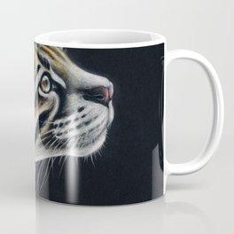 Ocelot Colored Pencil Art On Black Coffee Mug