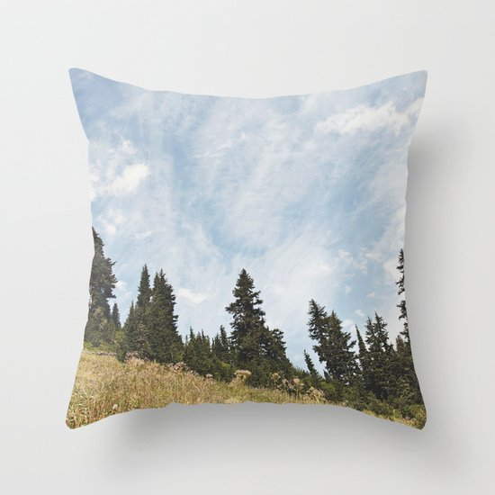 Mountain Flowers in the Sun Throw Pillow