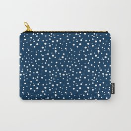 PolkaDots-White on Dark Blue Carry-All Pouch