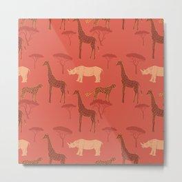 Burnt Orange Animals Neck Gator Giraffe Rhinoceros Leopard Burnt Orange Animal Metal Print