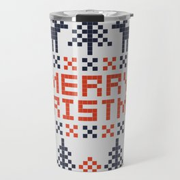 Pixel Merry Christmas - Deers and Trees - Red and Dark Blue Travel Mug