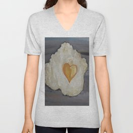 Heart-Shaped Fried Egg, oil painting by Luna Smith, valentine's day, romantic breakfast Unisex V-Neck