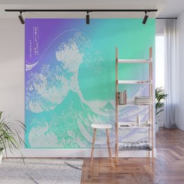 The Great Wave Purple Mint Aqua Wall Mural