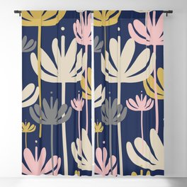 Bali Flowers Floral Pattern in Mustard, Pink, Gray, Champagne, and Navy Blue Blackout Curtain