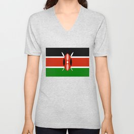 National flag of Kenya - Authentic version, to scale and color Unisex V-Neck