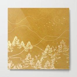 Minimalist Landscape Line Art III Metal Print