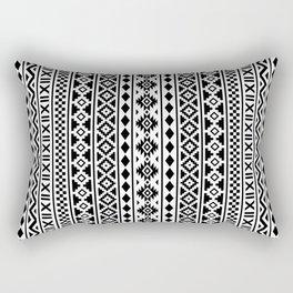 Aztec Essence Pattern Black on White Rectangular Pillow