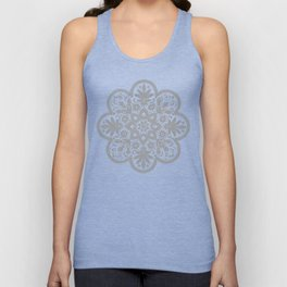 Floral Doily Pattern | Grey and White Unisex Tank Top