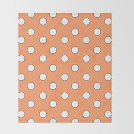 Orange Pastel Polka Dots Throw Blanket