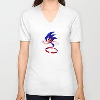 sonic V-neck T-shirts featuring Sonic by DROIDMONKEY