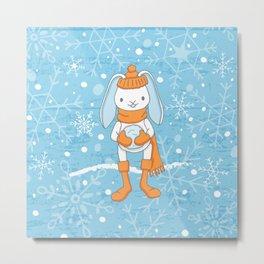 Bunny and Snowflakes_3 Metal Print
