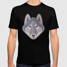 Gray wolf Mens Fitted Tee MEDIUM Black