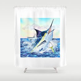 Breaching Blue Marlin Hunting with Boat in the background Shower Curtain