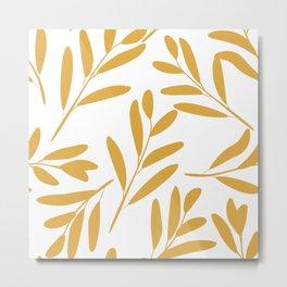 Prints of Leaves, Yellow and White, Modern Art Prints Metal Print