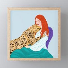 Leopard Cheetah Guepard Hug a Red Hair Woman Framed Mini Art Print