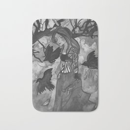 Raven Witch - Black & White Bath Mat