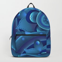 Blue monochromatic mandala dream catcher Backpack