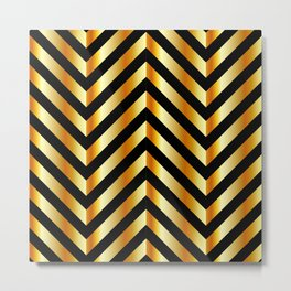 High grade raw material golden and black zigzag stripes Metal Print