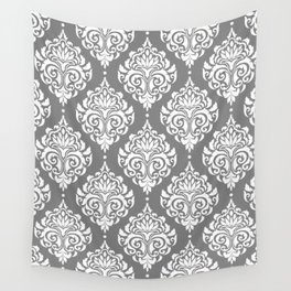 Grey Damask Wall Tapestry