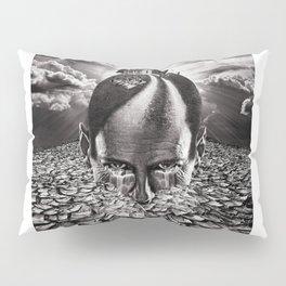 Inhabited Head Grayscale Pillow Sham