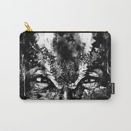 great horned owl bird close up wsbw Carry-All Pouch