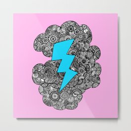 pink clouds square Metal Print