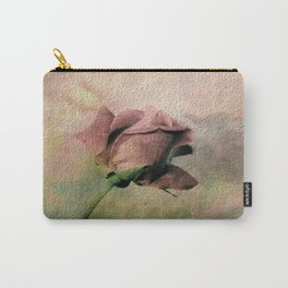 Painterly Pink Rose Bud Carry-All Pouch