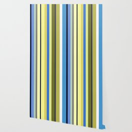 Blue and Moss Stripes Wallpaper