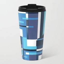 Blue Geometric Metal Travel Mug