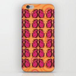 Pink and Orange Butterfly Pattern iPhone Skin