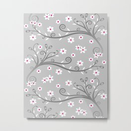 White and grey floral Metal Print