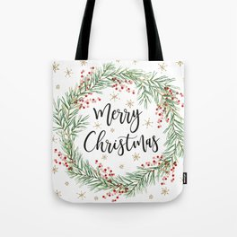 Merry Christmas wreath with red berries Tote Bag