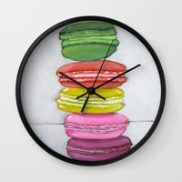 macaron Wall Clocks featuring macaron stack. by nicole newsted