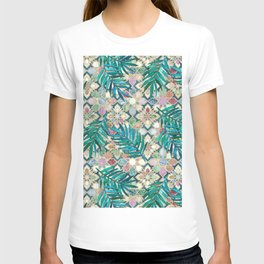 Muted Moroccan Mosaic Tiles with Palm Leaves T-shirt