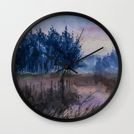 Riverscape in the late afternoon Wall Clock