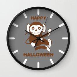 Dead Monkey Happy Halloween Wall Clock