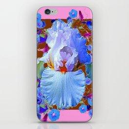 PASTEL IRIS & BLUE MORNING GLORIES PINK PATTERNS iPhone Skin