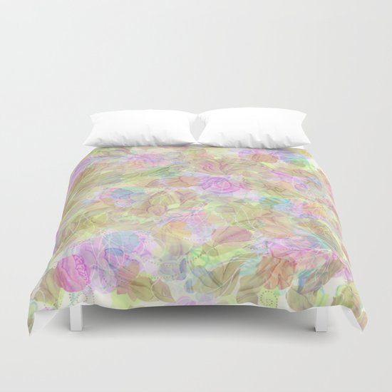 Soft Pastel Mixed Floral Abstract Duvet Cover