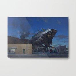digital fantasy surreal John Brosio artwork animals painting chameleons giant urban night Metal Print
